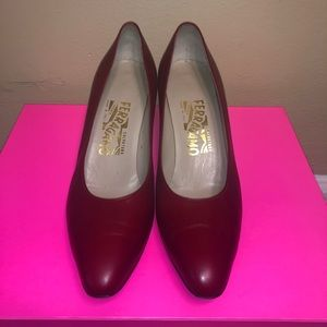 EUC Salvador Ferragamo Red Leather Heels